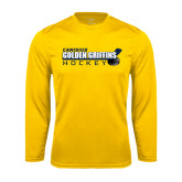 Performance Gold Longsleeve Shirt-Hockey Stick Design