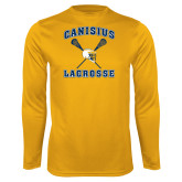 Syntrel Performance Gold Longsleeve Shirt-Lacrosse Crossed Sticks Design