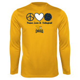 Performance Gold Longsleeve Shirt-Peace, Love and Volleyball Design