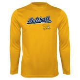 Performance Gold Longsleeve Shirt-Script Softball w/ Bat Design