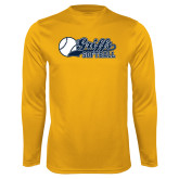 Syntrel Performance Gold Longsleeve Shirt-Script Softball w/ Ba Design