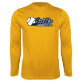 Performance Gold Longsleeve Shirt-Script Softball w/ Ba Design