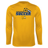 Syntrel Performance Gold Longsleeve Shirt-Soccer Swoosh Design