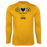 Performance Gold Longsleeve Shirt-Just Kick It Soccer Design