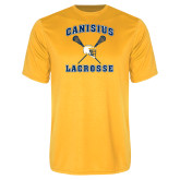 Syntrel Performance Gold Tee-Lacrosse Crossed Sticks Design