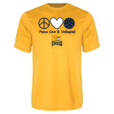 Syntrel Performance Gold Tee-Peace, Love and Volleyball Design