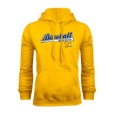 Gold Fleece Hoodie-Baseball Script w/ Bat Design