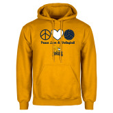 Gold Fleece Hoodie-Peace, Love and Volleyball Design
