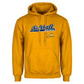Gold Fleece Hoodie-Script Softball w/ Bat Design
