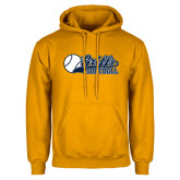 Gold Fleece Hoodie-Script Softball w/ Ba Design