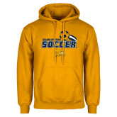 Gold Fleece Hoodie-Soccer Swoosh Design