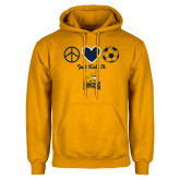 Gold Fleece Hoodie-Just Kick It Soccer Design