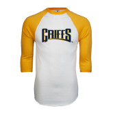White/Gold Raglan Baseball T-Shirt-Griffs Wordmark