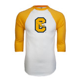 White/Gold Raglan Baseball T-Shirt-Capital C Griffs