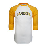 White/Gold Raglan Baseball T-Shirt-Arched Canisius