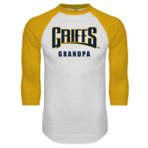 White/Gold Raglan Baseball T-Shirt-Grandpa