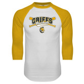 White/Gold Raglan Baseball T-Shirt-Baseball Crossed Bats Design