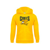 Youth Gold Fleece Hood-Griffs w/ Griff Stacked