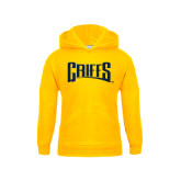 Youth Gold Fleece Hood-Griffs Wordmark