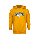 Youth Gold Fleece Hoodie-Baseball Crossed Bats Design