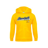 Youth Gold Fleece Hoodie-Baseball Script w/ Bat Design