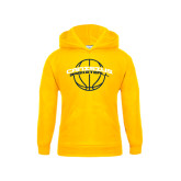 Youth Gold Fleece Hood-Basketball Ball Design