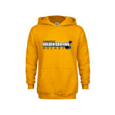 Youth Gold Fleece Hood-Hockey Stick Design