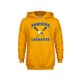 Youth Gold Fleece Hood-Lacrosse Crossed Sticks Design