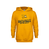 Youth Gold Fleece Hood-Can You Dig It - Volleyball