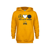 Youth Gold Fleece Hoodie-Peace, Love and Volleyball Design