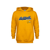 Youth Gold Fleece Hoodie-Script Softball w/ Bat Design