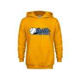 Youth Gold Fleece Hoodie-Script Softball w/ Ba Design
