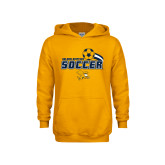 Youth Gold Fleece Hood-Soccer Swoosh Design