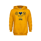 Youth Gold Fleece Hood-Just Kick It Soccer Design