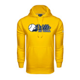 Under Armour Gold Performance Sweats Team Hoodie-Script Softball w/ Ba Design