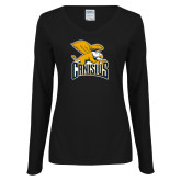 Ladies Black Long Sleeve V Neck T Shirt-Canisius w/ Griff Stacked