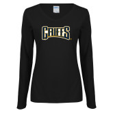 Ladies Black Long Sleeve V Neck T Shirt-Griffs Wordmark