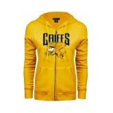 ENZA Ladies Gold Fleece Full Zip Hoodie-Griffs w/ Griff Stacked