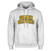 White Fleece Hoodie-Arched Golden Griffins