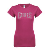 Ladies SoftStyle Junior Fitted Fuchsia Tee-Rhinestone Griffs