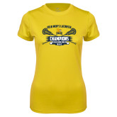 Ladies Syntrel Performance Gold Tee-2018 Mens Lacrosse Champions