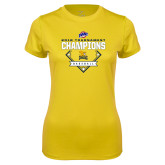 Ladies Syntrel Performance Gold Tee-2018 MAAC Baseball Champions