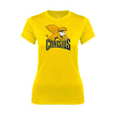 Ladies Syntrel Performance Gold Tee-Canisius w/ Griff Stacked