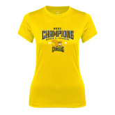 Ladies Syntrel Performance Gold Tee-2016 MAAC Champions Womens Lacrosse
