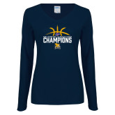Ladies Navy Long Sleeve V Neck T Shirt-Mens Basketball Regular Season Champions
