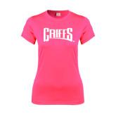 Ladies Performance Hot Pink Tee-Griffs Wordmark