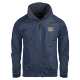 College Navy Charger Jacket-Sesqui Text