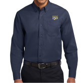 College Navy Twill Button Down Long Sleeve-Sesqui Text