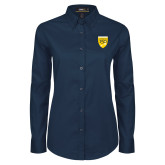 College Ladies Navy Twill Button Down Long Sleeve-Sesqui Crest