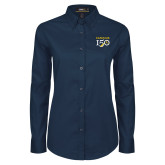 College Ladies Navy Twill Button Down Long Sleeve-Sesqui Text